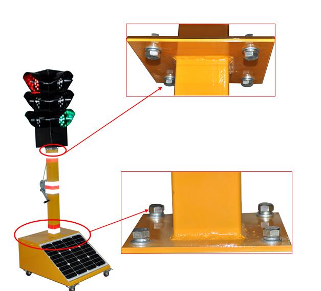 4、发光图案:灯头四个面,每个面由红色、黄色、绿色满屏图案组成。 5、外形尺寸:单个灯盘透光面发光尺寸Φ200mm;外形高度:2440mm; 6、LED光源:采用进口四元素超高亮发光二极管,红黄芯片采用:晶元品牌;绿色芯片采用:泰谷品牌。使用寿命≥10万小时以上。 二、主要功能及安装注意事项: